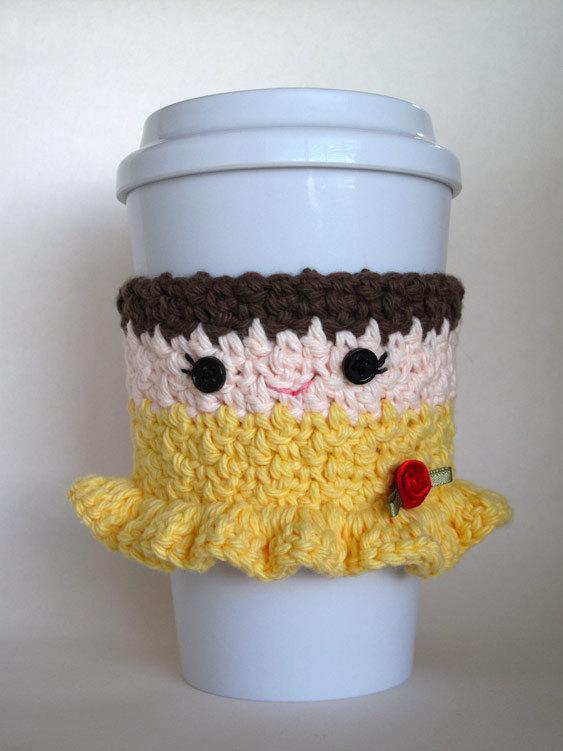 Crochet Belle Princess Coffee Cup Cozy | Tazas crochet | Pinterest ...