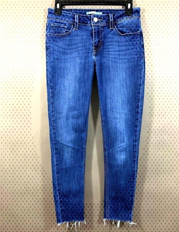 Levis 535 Womens Size 28 Super Skinny Jeans Dark Distressed Wash Stretch AnkleYou