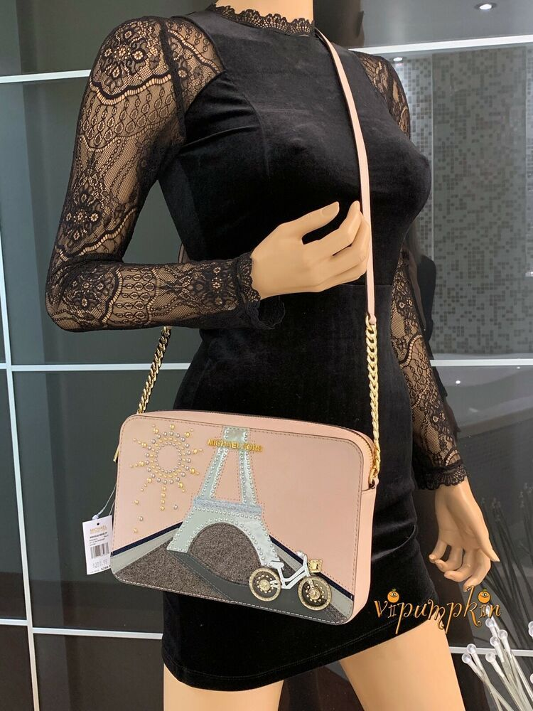 54379a745dda Michael Kors Jet Set Item Nouveau Novelty Crossbody Bag Saffiano Leather  Ballet