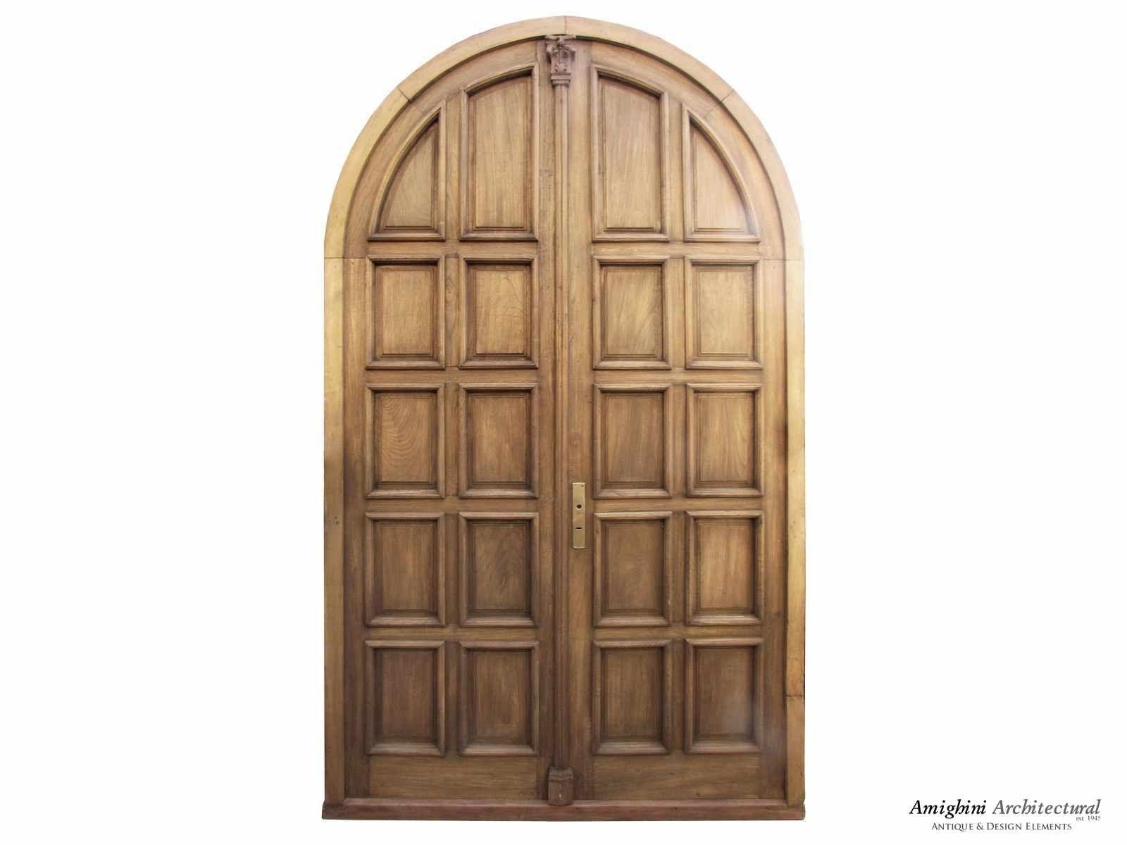 Antique Double Solid Paneled Round Top Door Distressed Doors Doors Double French Doors
