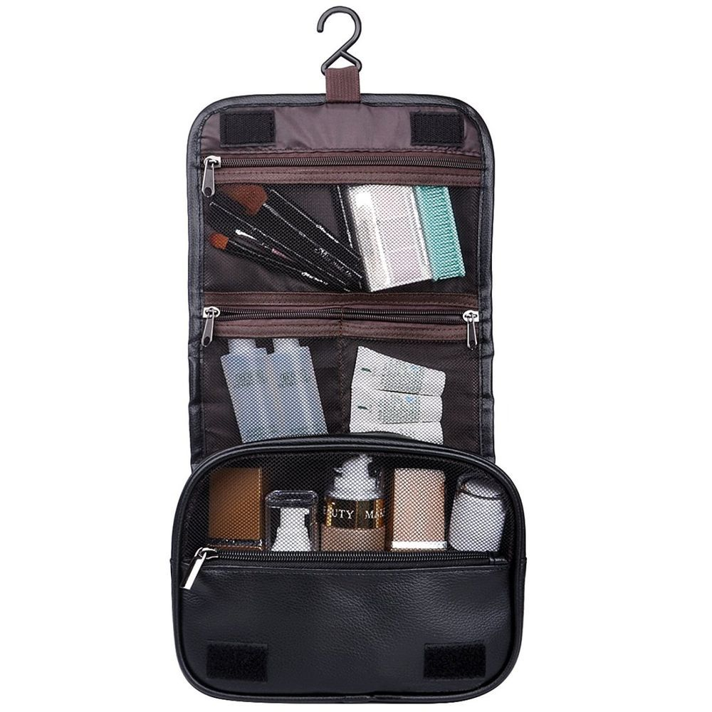 092bbc68a688 Hanging Toiletry Travel Bag Organizer Cosmetic Wash Case Leather Men ...