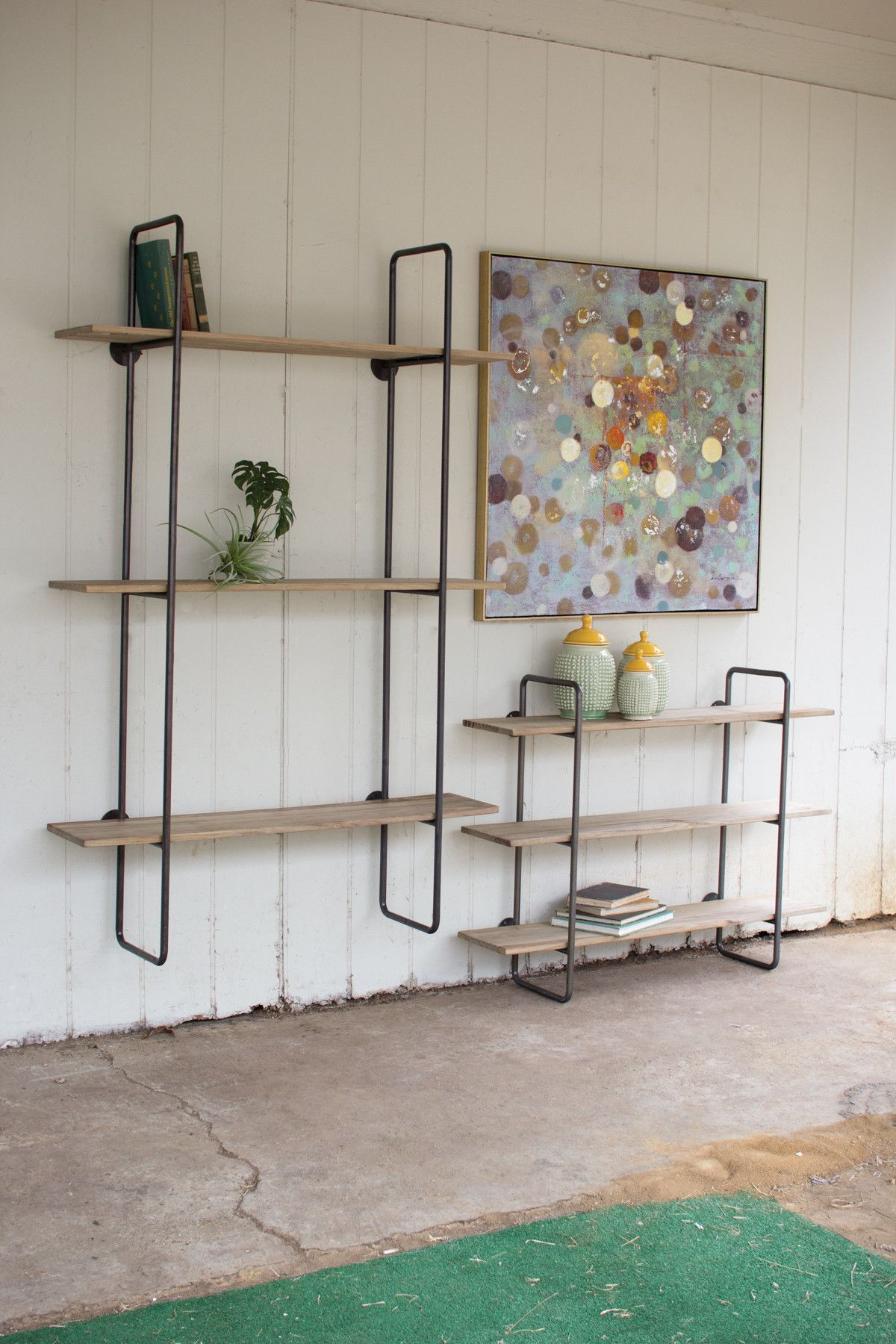 Three Tiered Metal Tube Frame Wall Shelf With Wooden Shelves Large Wood Shelving Units Frames On Wall First Apartment Decorating