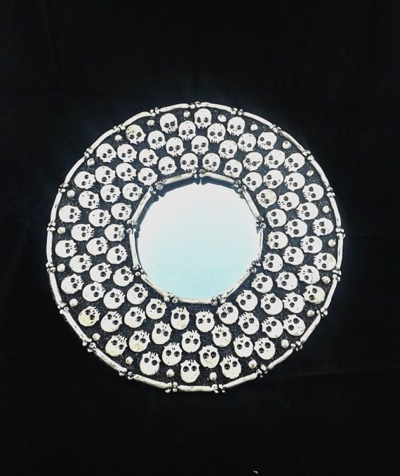Skull mirror  polymer clay skull mirror by LeftHandAsylum on Etsy