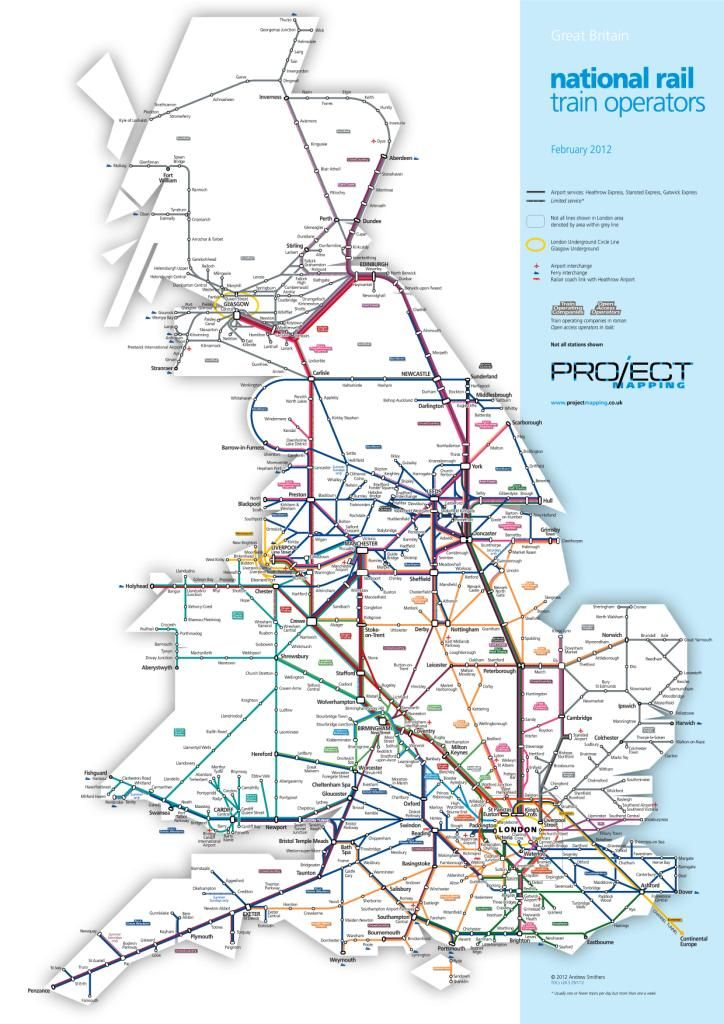 Map of National Rail Train Operators by Project Mapping - You can plan #yourjourney online using http://ojp.nationalrail.co.uk/service/planjourney/search