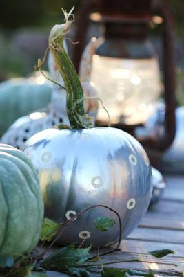 A Day in the Country...  I used chrome paint and office supplies to make pretty pumpkins for HGTV