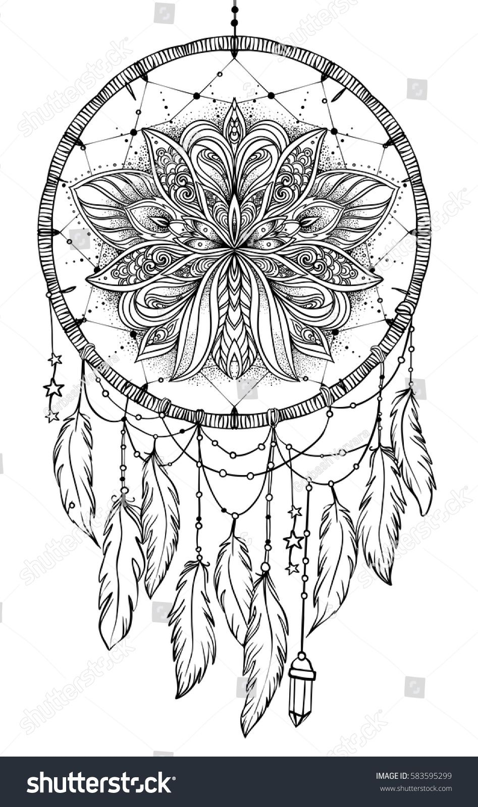 Hand drawn native american indian talisman dreamcatcher with feathers and moon vector hipster illustration isolated on white ethnic design boho chic