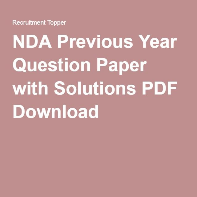 Nda Last Year Question Paper With Solution Pdf