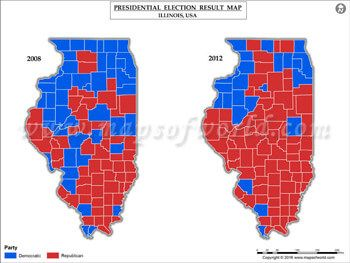 Illinois Election Results Map 2008 Vs 2012 | US Presidential ...