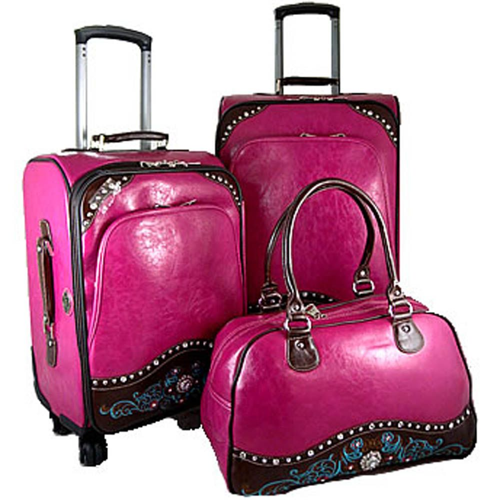 Montana west western hot pink rhinestone luggage set suitcase ...