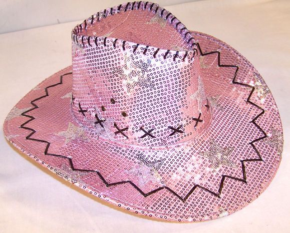 SEQUIN PINK STAR COWBOY HAT party western dance hats womens girls cap  sparkling f732a2fb74bb