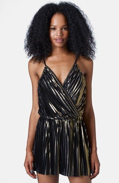 Topshop Pleated Foil Romper available at #Nordstrom