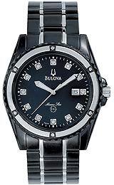 Bulova Marine Star Collection Japanese Quartz Movement Black Mother-of-Pearl Dial Men's Watch #98D107