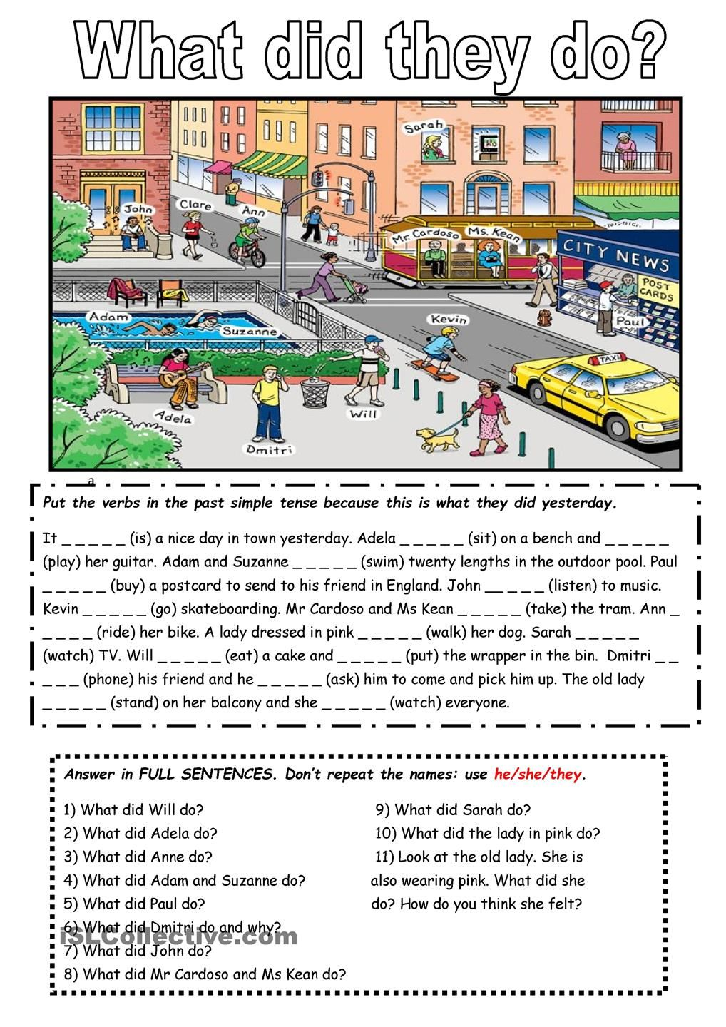 The Past Simple Tense With A Picture English Activities Learn English English Lessons