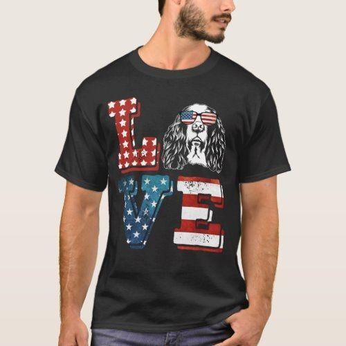 Love English Springer Spaniel American Flag T-Shirt