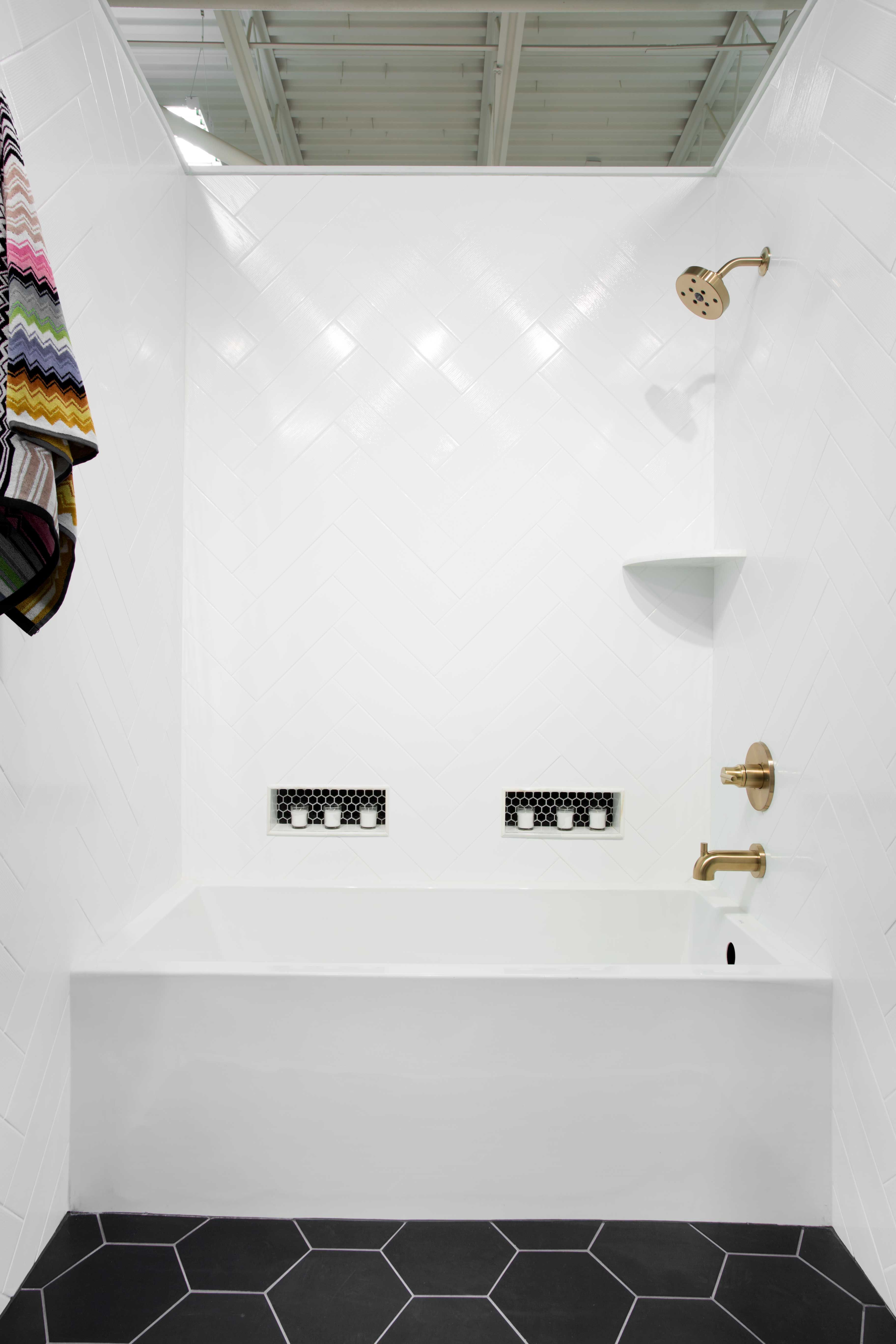White bathroom wall tile - Icefall White Ceramic Wall Tile 4 x 16 in ...