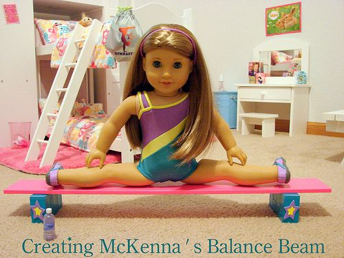 mckenna | Making McKenna's Balance Beam on a Budget | live.life.create.art #americangirldollcrafts