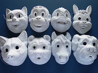 Card Masks To Decorate 8 Moulded Plastic Animal Masks To Decorate Childrens Crafts
