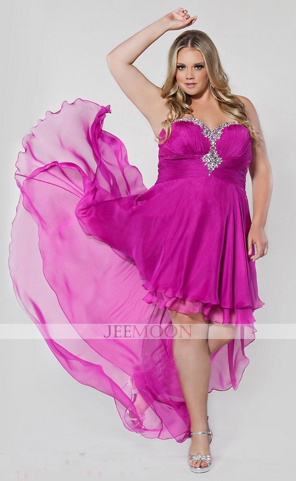 Rock ruffles high low chiffon floorlength plus size prom dress