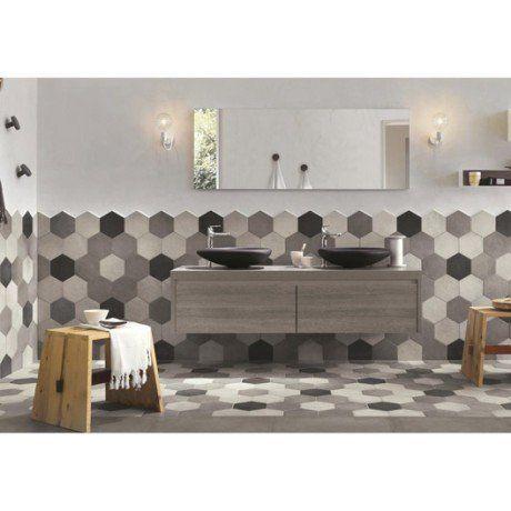 Carrelage sol et mur gris blanc effet béton Time l182 x L21 cm
