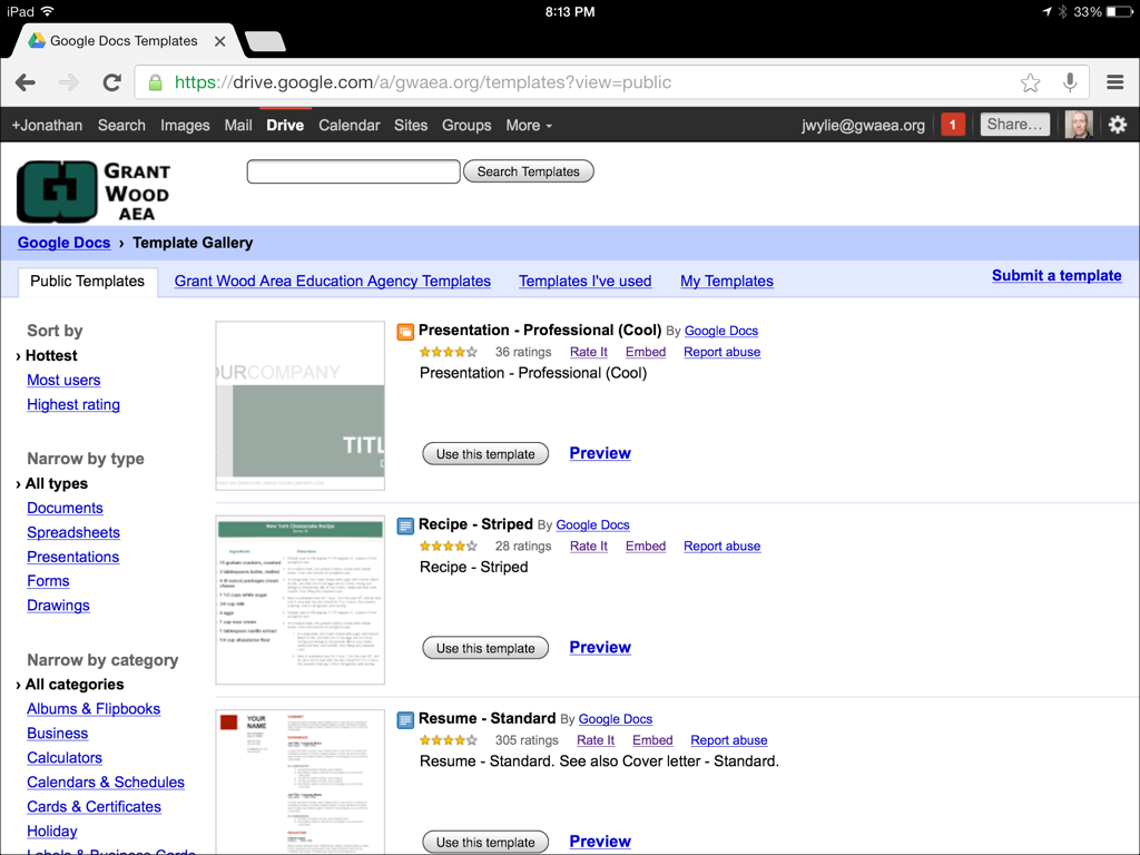 Access the Google Drive Template Gallery on an iPad (With