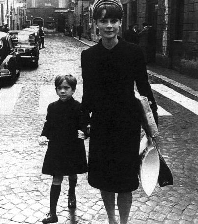 The actress Audrey Hepburn photographed with her son Sean Ferrer in Rome (Italy), in December 1964.