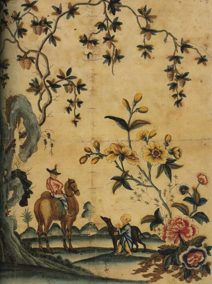 Antique chinoiserie paper