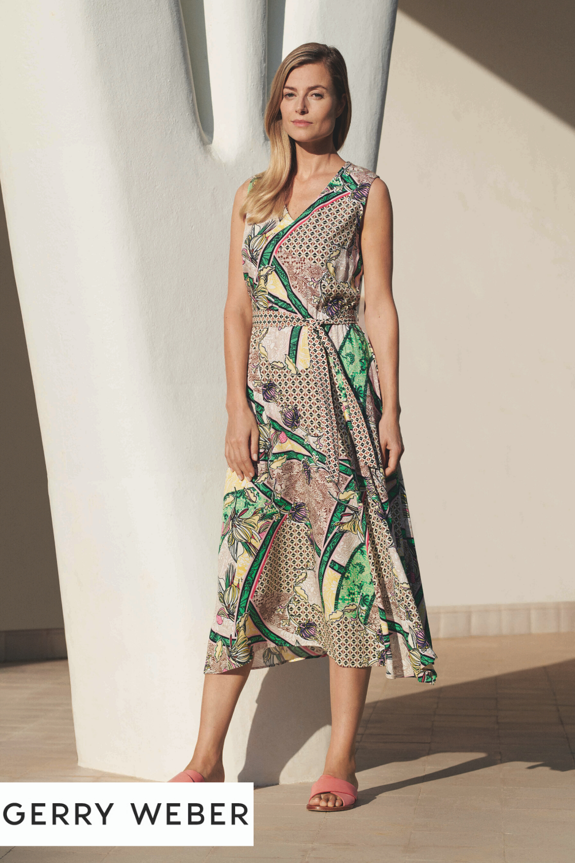 Ärmelloses kleid mit botanical print | modestil, schöne