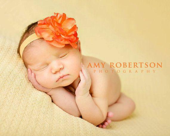 Baby Girl Headbands  Orange Flower Headbands by addiebellaboutique, $9.50