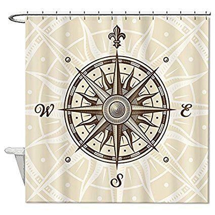 Rioengnakg Mildew Resistant Ployester Compass Shower Curtain Polyester Waterproof 66 X 72