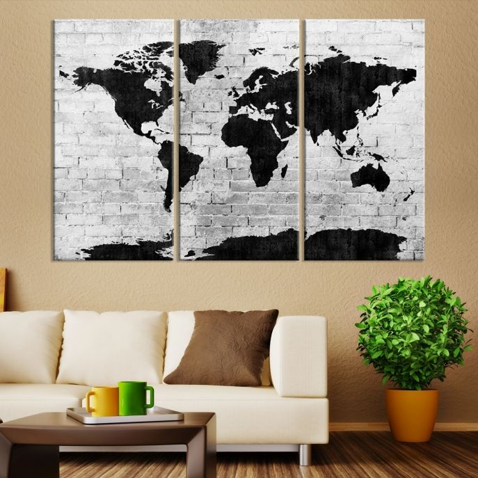 Black and white shadowy world map large wall art canvas black and white shadowy world map large wall art canvas mygreatcanvas extra large wall art wall art print large world map canvas print gallery gumiabroncs Image collections