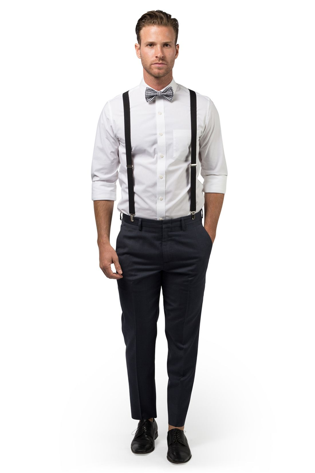 New Fashion Adult Polka Dot Suspender Bow-Tie Combo Set Tuxedo Wedding Suit