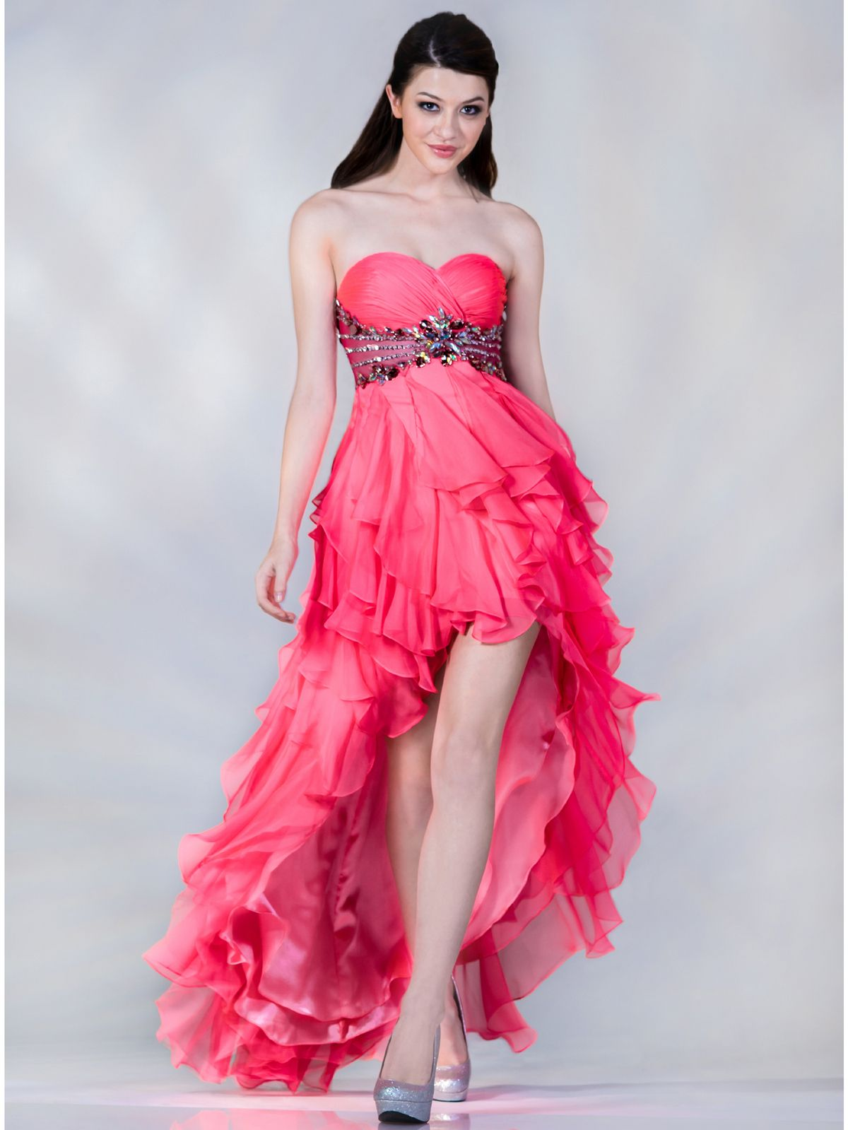 pink-high-low-prom-dress- | Pink Prom Dress | Pinterest | High low ...