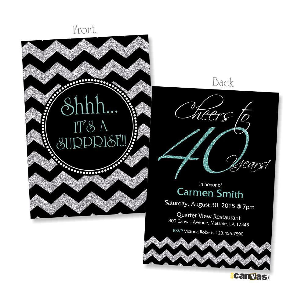 40th birthday invitation for women cheers to 40 years golden birthday invites blue silver glitter chevron any agecolor chalkboard 235 by 800canvas on