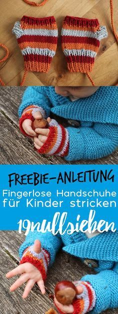 Photo of Freebie Instructions for fingerless gloves for kids and baby knitting, knitting …