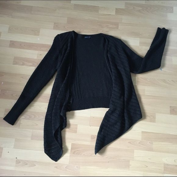 American Eagle Hi-Lo Sweater Sparkley black sweater. High in back, low in front. Kinda big on me and I wear a med/lg, had to roll the sleeves. Great condition and only worn a few times. Will ship within two days! American Eagle Outfitters Sweaters Cardigans