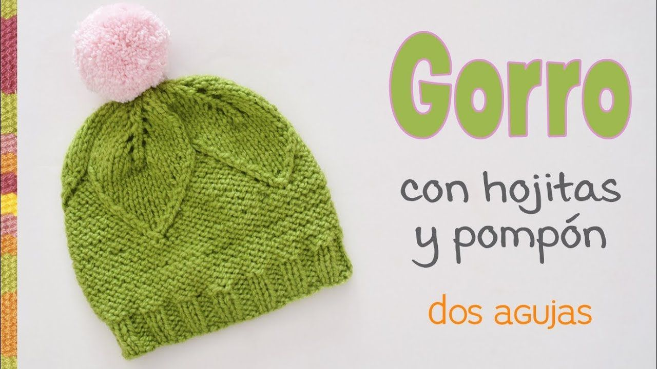 Gorro de hojitas tejido a dos agujas para bebés   Tejiendo Perú ... 207540777a3