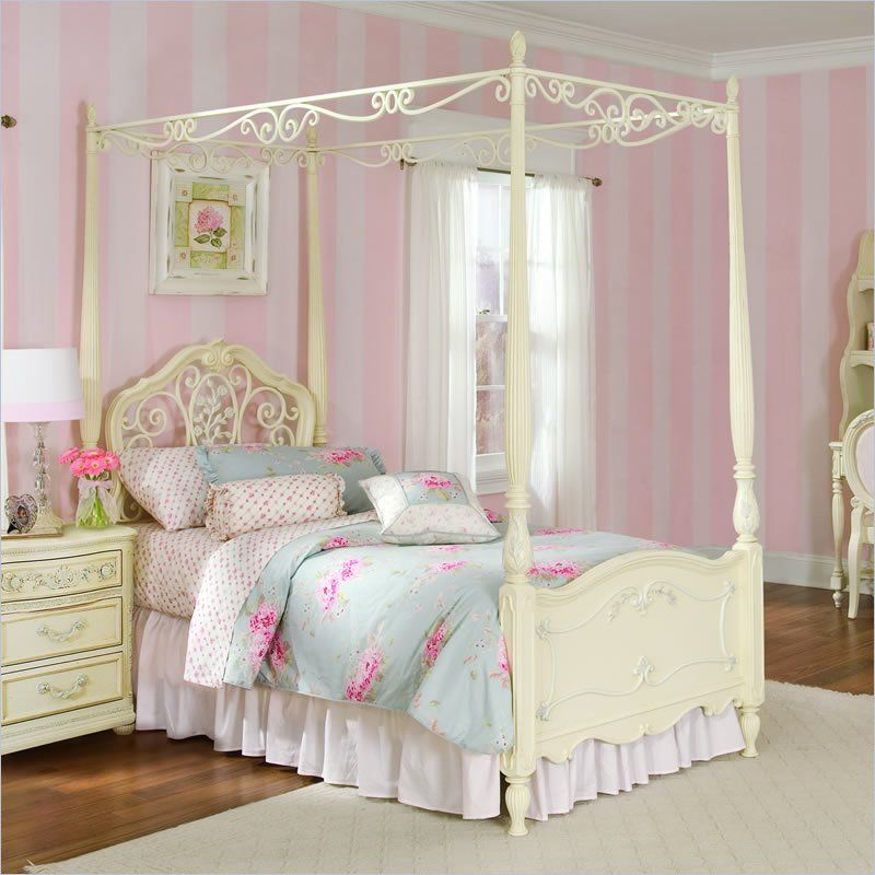 Lea Jessica Mcclintock Romance Metal And Wood Canopy Bed In