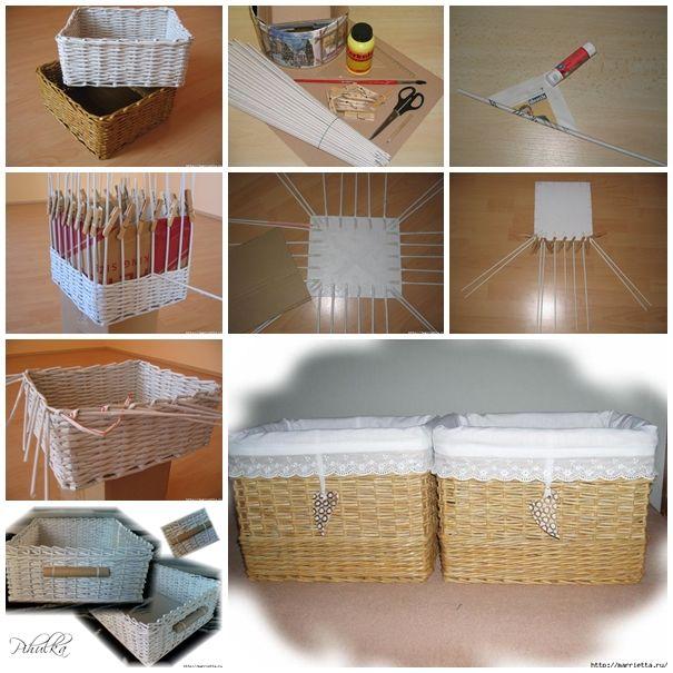 Diy basket woven from recycled newspaper cestas de - Reciclar cestas de mimbre ...