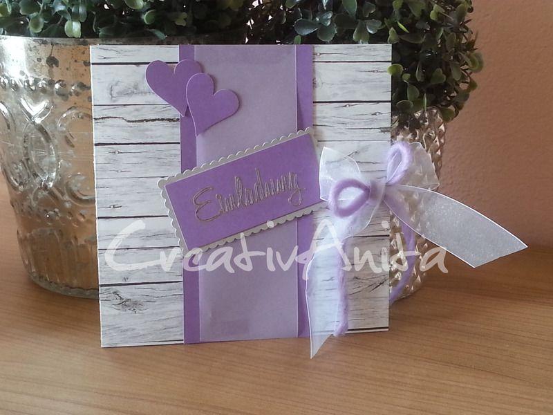 Einladungskarte Hochzeit Lila Holz Flieder Shabby Von Creativanita