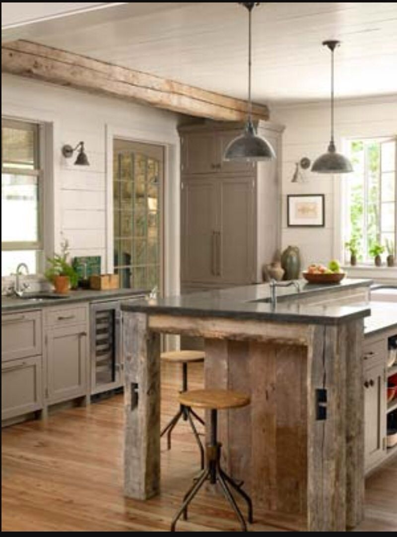 Love This Kitchen No Upper Cabinets Nice Rustic Kitchen Home Kitchens Kitchen Remodel