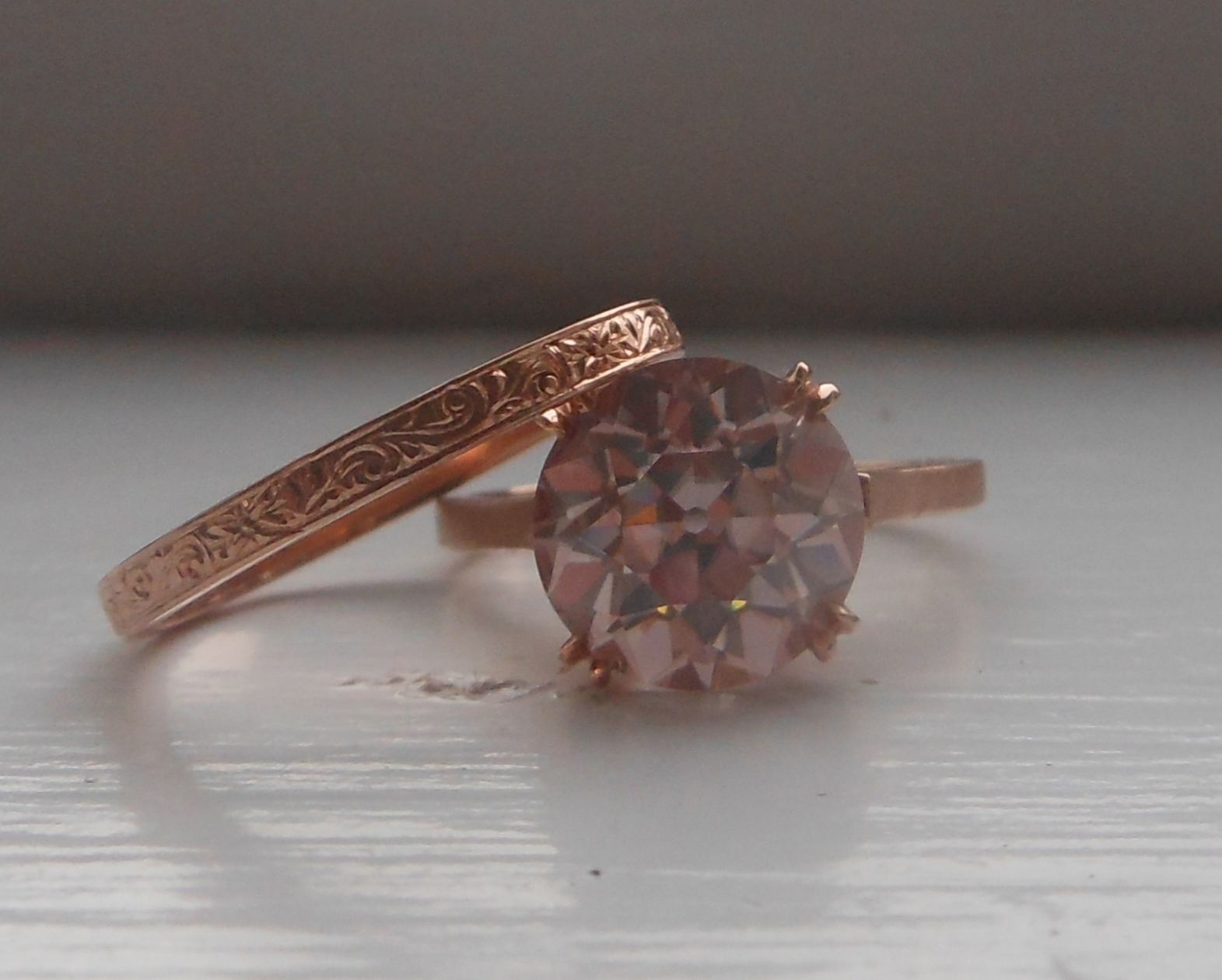 Barely Pink Oec Moissanite Engagement Ring In 14k Rose Gold With A Hand  Engraved Band
