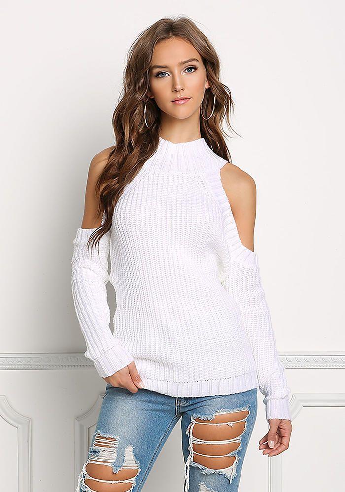 da31f4b707668 Off White Cold Shoulder Sweater Top - Clothes - New