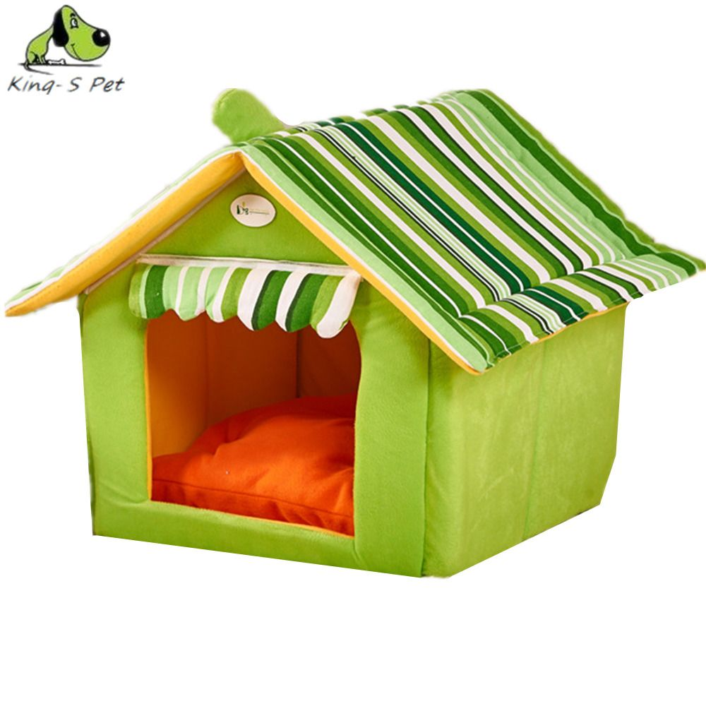 New Fashion Striped Removable Cover Mat Dog House Dog Beds For Small Medium  Dogs Pet Kennels