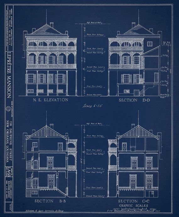 New orleans french quarter mansion architectural drawing blueprint new orleans french quarter mansion architectural drawing blueprint elevations and sections giclee print 18x 24 malvernweather Images