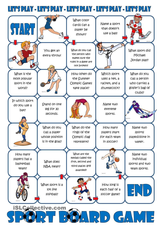 Sport Board Game, Adapt to Spanish class. Sports board