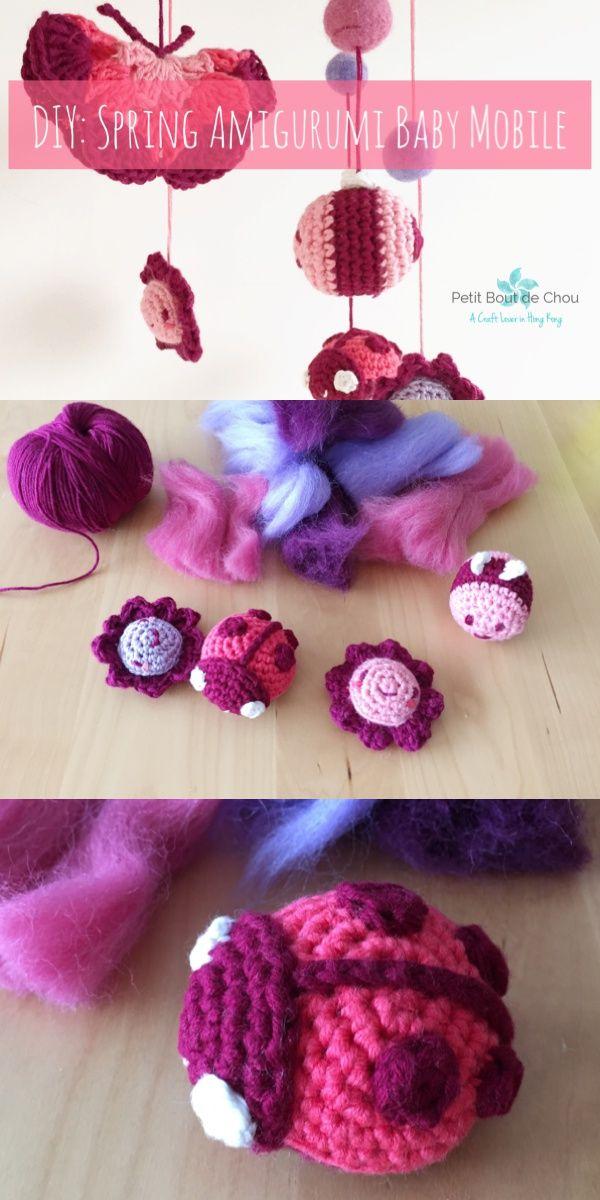 DIY: Spring Amigurumi Baby Mobile | Pinterest | Baby zubehör ...