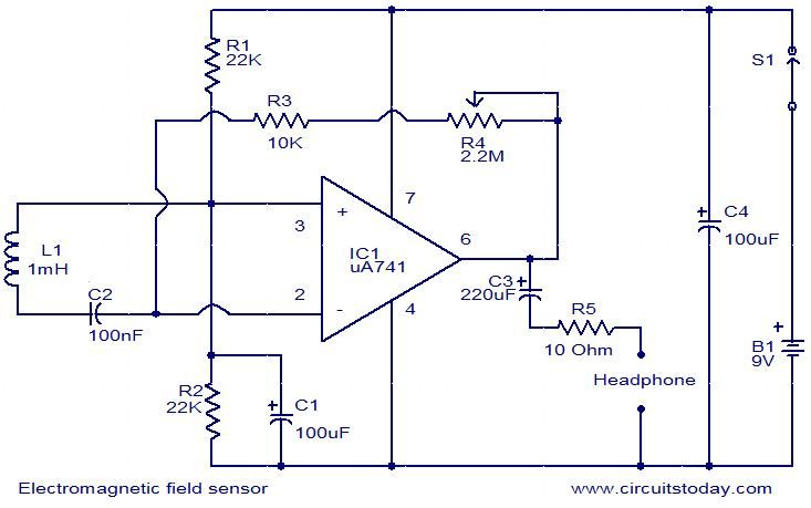 electromagnetic field sensor circuit my project sites electromagnetic field sensor circuit