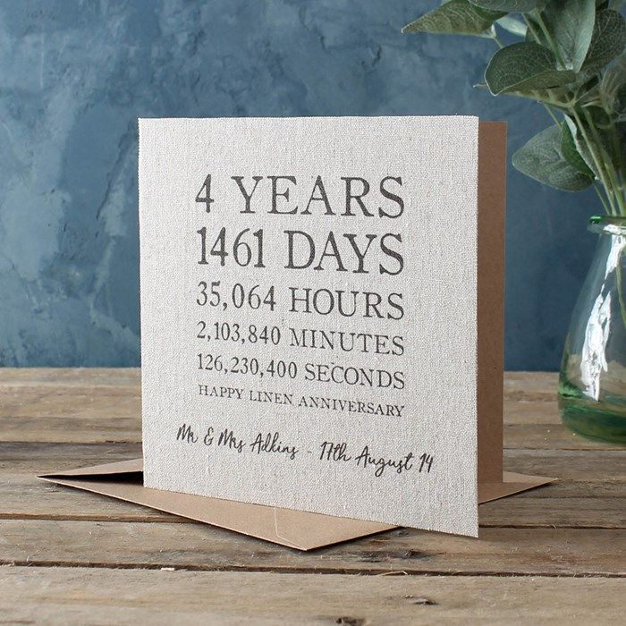 Personalised Time Card Linen 4th Anniversary Wedding