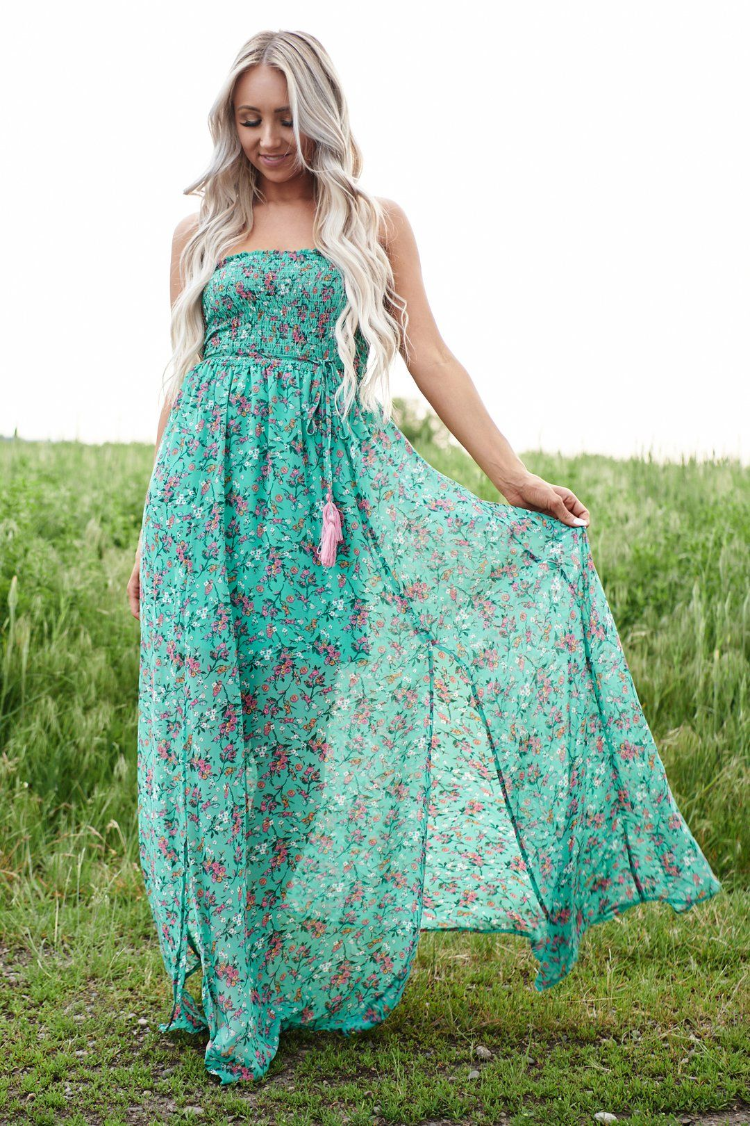 Lainey Strapless Floral Maxi Dress Green Multi Maxi Dress Green Floral Maxi Dress Green Dress [ 1620 x 1080 Pixel ]