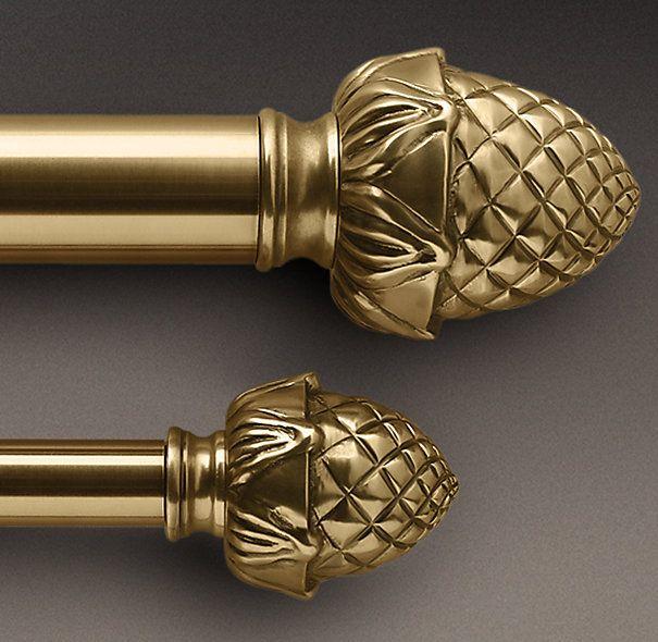 Classic Pineapple Finial Rod Set Antique Brass Brass